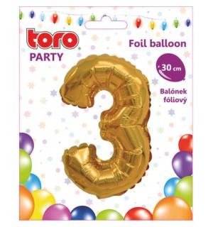"""Balón ČÍSLO """"3"""", 30cm, fólia, rôzne farby  SVIEČKY, DARČEKY"""