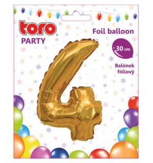 """Balón ČÍSLO """"4"""", 30cm, fólia, rôzne farby  SVIEČKY, DARČEKY"""
