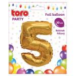 """Balón ČÍSLO """"5"""", 30cm, fólia, rôzne farby  SVIEČKY, DARČEKY"""