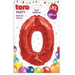 """Balón XL ČÍSLO """"0"""", 60cm, fólia, červený SVIEČKY, DARČEKY"""