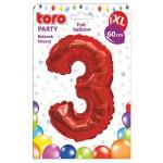 """Balón XL ČÍSLO """"3"""", 60cm, fólia, červený SVIEČKY, DARČEKY"""