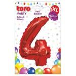 """Balón XL ČÍSLO """"4"""", 60cm, fólia, červený SVIEČKY, DARČEKY"""