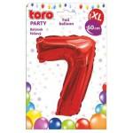 """Balón XL ČÍSLO """"7"""", 60cm, fólia, červený SVIEČKY, DARČEKY"""