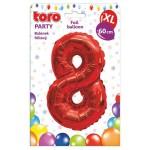 """Balón XL ČÍSLO """"8"""", 60cm, fólia, červený SVIEČKY, DARČEKY"""