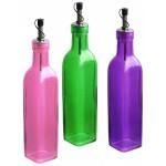 Fľaša na olej/ocot 260ml, rôzne farby 4,5x22cm sklo  STOLOVANIE