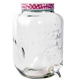 Pohár na nápoje s otočným kohútikom, s vekom , 7,8L,  číra, sklo SKLADOVANIE POTRAVÍN A DÓZY