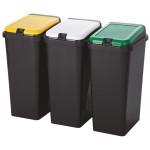 Kôš na separovaný odpad 3x45L, plast, TONTARELLI SMETNÉ KOŠE, KOŠE NA ODPAD