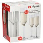Poháre na šampanské set 6ks, ALPINA 220ml, sklo STOLOVANIE
