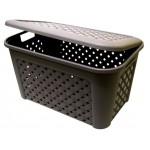 Box s deklom 48L HNEDÝ, ARIANNA, 58x38x33cm, plast, TONTARELLI